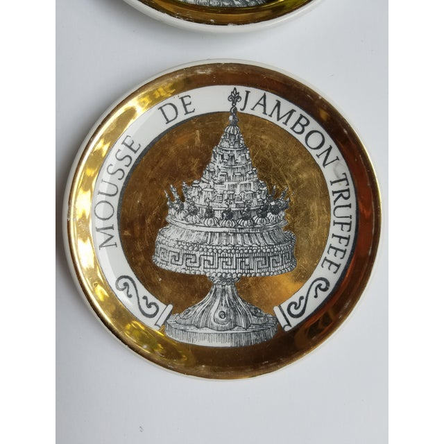 """1960's Piero Fornasetti Black and Gold Coasters """"Pranzo Alle Otto"""" - Set of 8 For Sale - Image 9 of 11"""