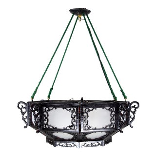 Chinoiserie Black Wood Chandelier For Sale
