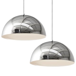 Panton Mid-Century Chrome Pendant Lamps - A Pair For Sale