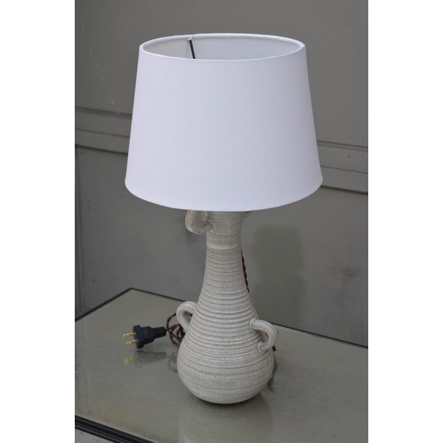 Contemporary Chic Gourd Shaped Table Lamp With Custom White Parchment Shade For Sale - Image 3 of 5