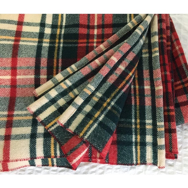 """Pearce of Woolwich PA made plaid 70"""" wide x 86"""" deep wool blanket. New professional sewn rolled hems replaces original red..."""