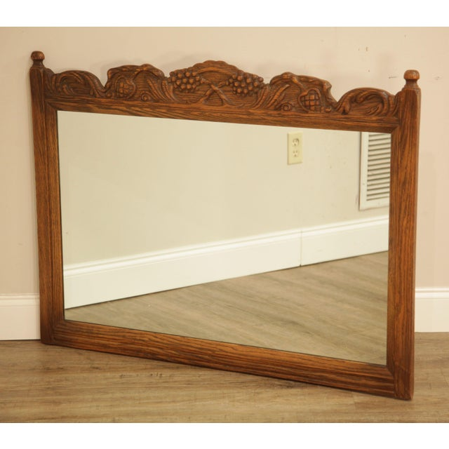 High Quality Carved Solid Oak Frame Mirror by Jamestown Lounge Not Labeled