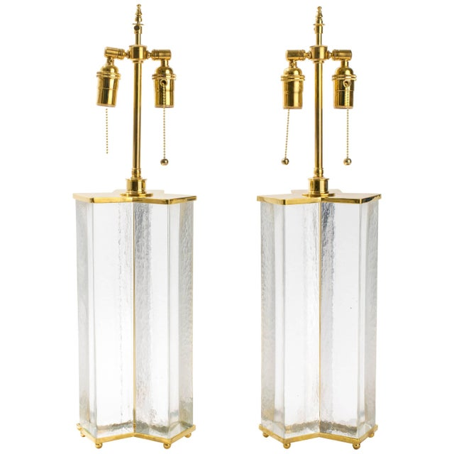 Gold Cast Textured Glass Column Table Lamps For Sale - Image 8 of 8
