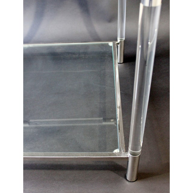 Silver Mid-Century Modern Charles Hollis Jones Era Chrome Lucite Glass Coffee Table For Sale - Image 8 of 9