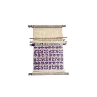 Vintage Wood Hand Loom Purple and Natural Cream Color Animal and Plant Weaving Textile Hanging For Sale