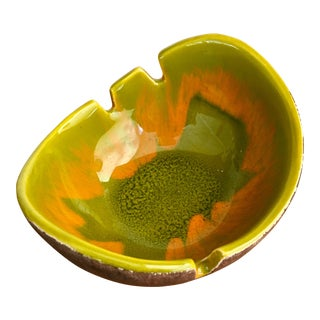Mid-Century Modern Green Drip Glaze Ashtray For Sale