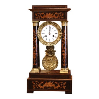 Mid-19th Century French Empire Carved Walnut and Marquetry Portico Mantel Clock For Sale