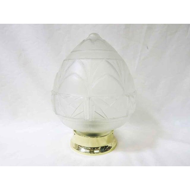 Art Deco Art Deco Satin Acorn Ceiling Glass Globe Pendant For Sale - Image 3 of 5