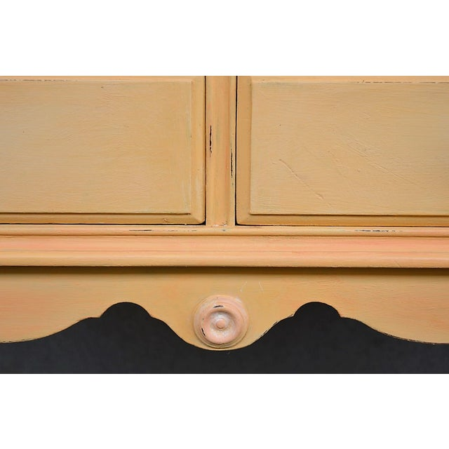 1910s 1910s Folk Art Yellow Painted Console Table With Decoupaged Drawers For Sale - Image 5 of 11