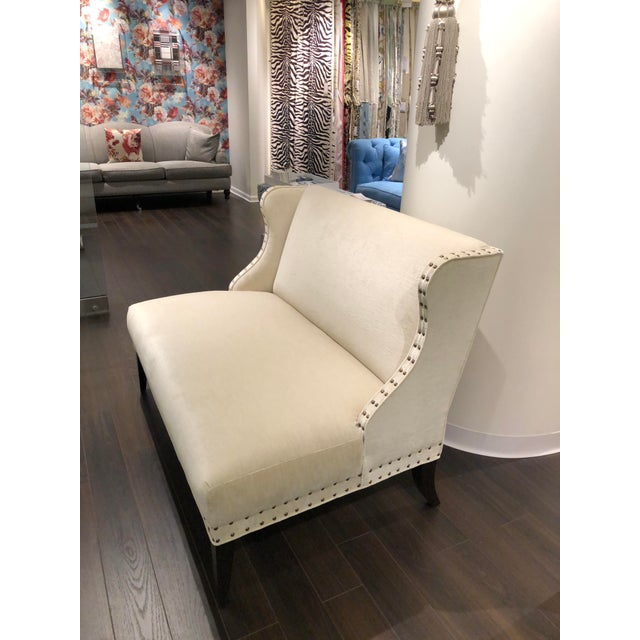 Chicago showroom sample. Bel Aire Settee with tight seat and back spaced nail detail Upholstered in Persia color Natural