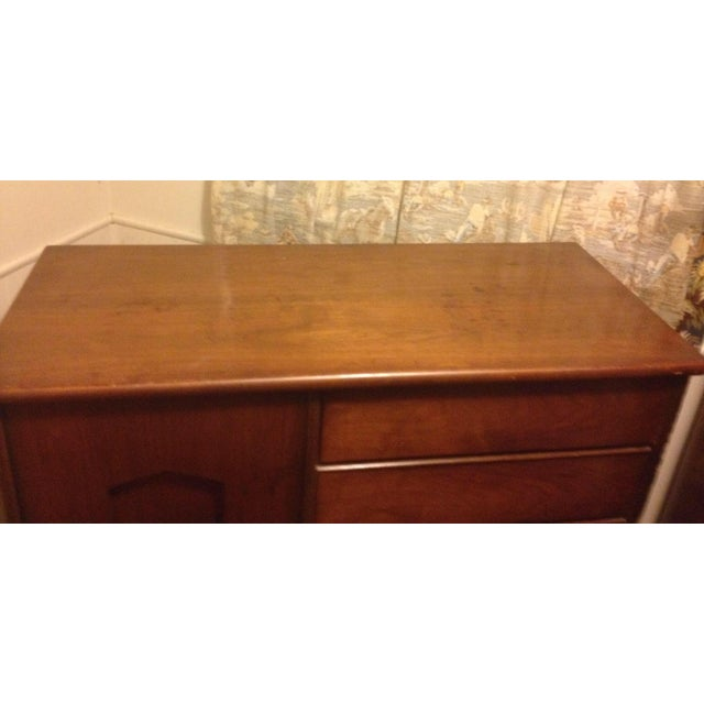 Bassett Mid Century Modern -All 3 Pieces-Triple Dresser W Mirror and Chest on Chest in Bow Tie Style - Image 5 of 9