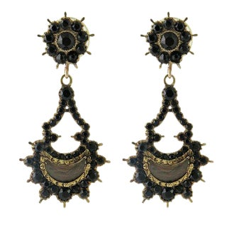 Georgian Period Gold Jet Hair Mourning Pierced Earrings For Sale