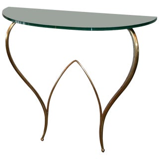 Italian Glass and Brass Console For Sale