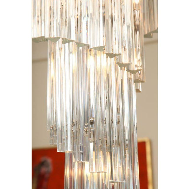 Murano Italian Murano Spiral Crystal Glass Prism Chandelier by Venini For Sale - Image 4 of 8