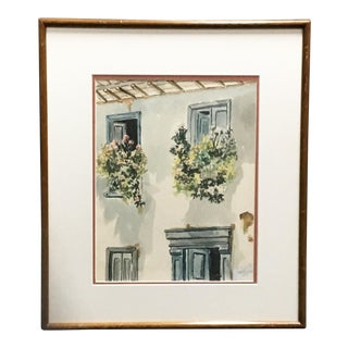 South American Window Watercolor Painting For Sale