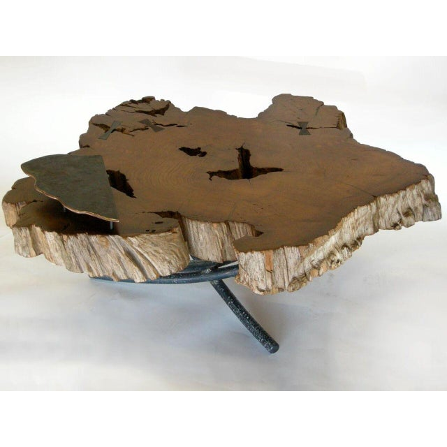 Freeform Teak Coffee Table With Hand Forged Iron Tripod Base For Sale In Los Angeles - Image 6 of 11