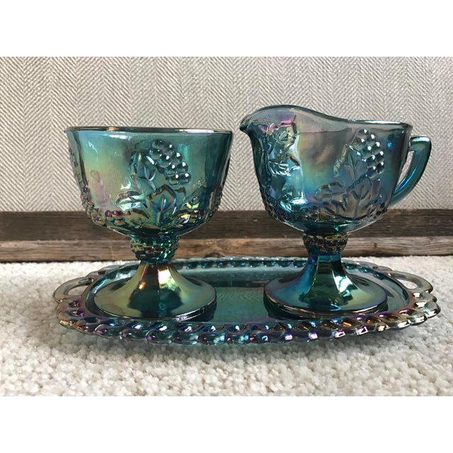 Indiana Carnival Glass Blue Creamer, Sugar & Tray - Set of 3 - Image 2 of 6