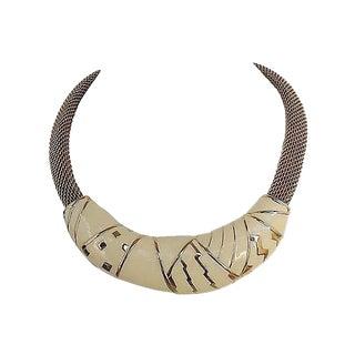 1980s Monet Modernist White Enamel Collar Necklace For Sale