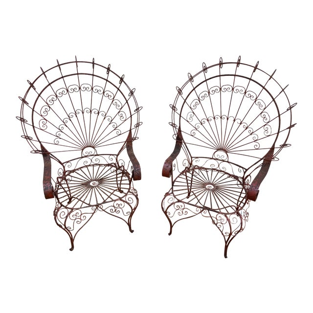 Vintage Mid-Century Salterini Style Peacock Chairs - a Pair For Sale