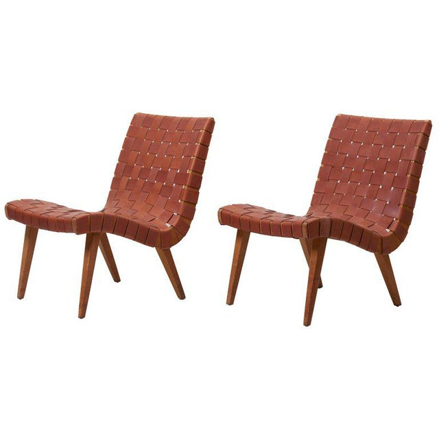 Pair of Early Jens Risom 654W Lounge Chairs by Knoll with New Leather Webbing For Sale - Image 12 of 12