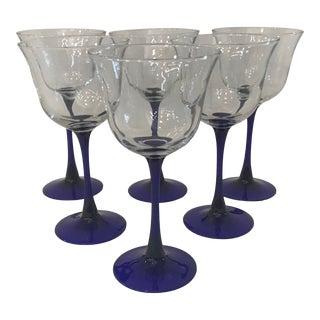 Vintage Black Stem Crystal Wine Glasses - Set of 6 For Sale