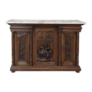 Antique French Walnut Renaissance Marble Top Buffet For Sale