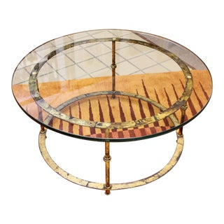 Mid Century Modern Patina Brass & Glass Round Coffee Table 1960s For Sale