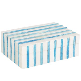 Contemporary Turquoise Mosaic Bone Keepsake Box For Sale