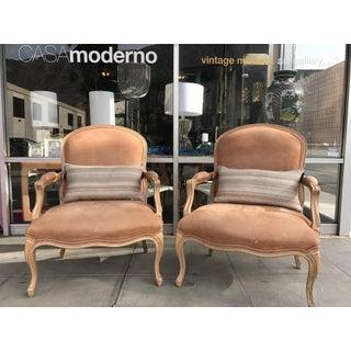 Kreiss Blush Faux Pigskin Bergere Chairs - a Pair Preview