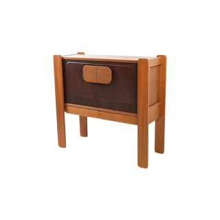 Walnut and Leather Postmodern Cabinet For Sale