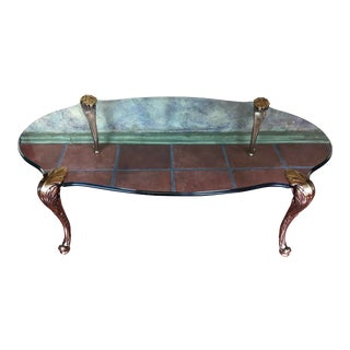 Hollywood Regency Bronze and Glass Coffee Table For Sale