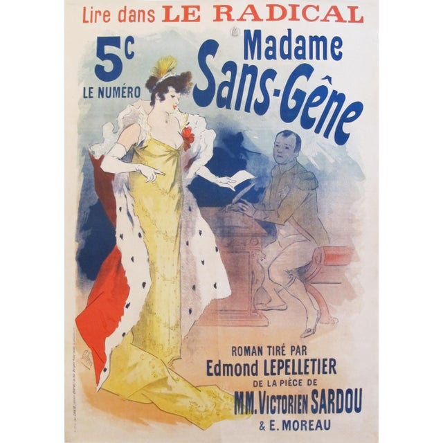 Paper 1894 Original French Belle Epoque Poster, Madame Sans Gene by Jules Cheret For Sale - Image 7 of 7