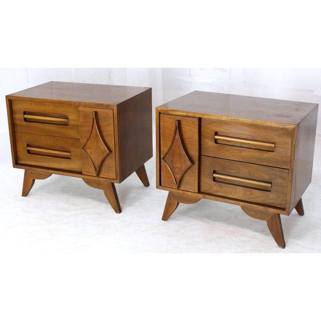Pair of Large Walnut Nightstands End Tables with Small Bookcase For Sale - Image 9 of 9