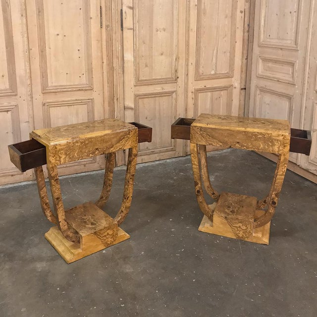 Pair Art Deco Burl Walnut End Tables are an amazing example of the sleek curving lines of the style that ushered in the...