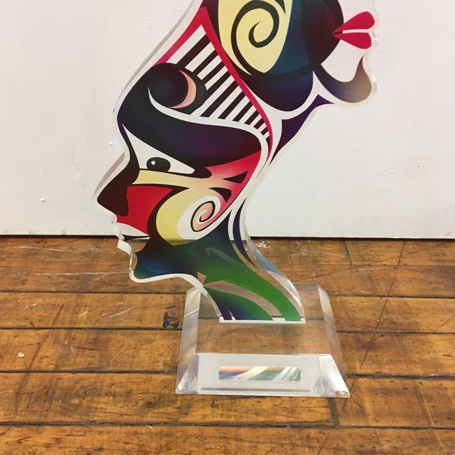 """Blue 1990's Acrylic Sculpture """"Two Faces"""" by Schlomi Haziza For Sale - Image 8 of 13"""