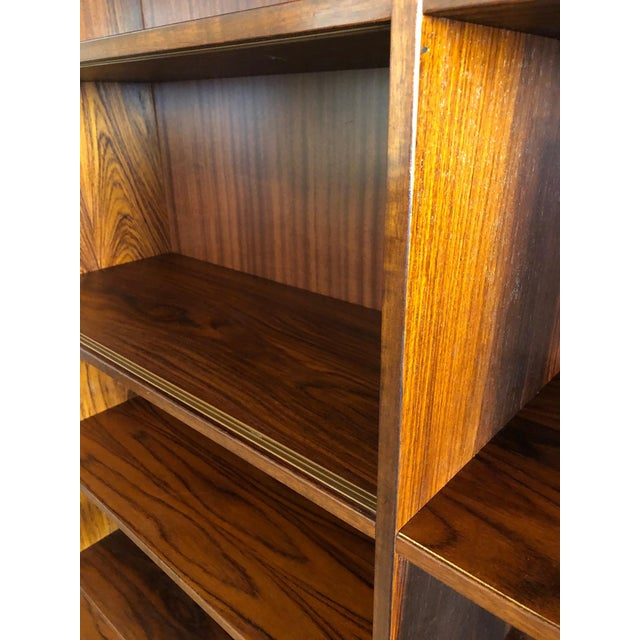 Brown Danish Mid-Century Modern Rosewood 2 Piece Display/Credenza With Drop Leaf Bar For Sale - Image 8 of 13