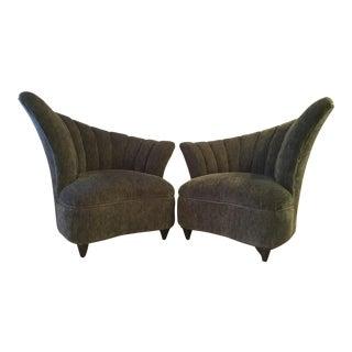 Vladimir Kagan Asymmetrical Shell Lounge Chairs - A Pair