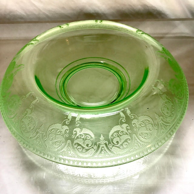 Art Deco Etched Green Uranium Depression Glass Console Bowl For Sale - Image 3 of 6