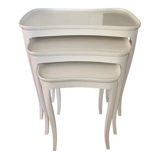 Italian White Lacquered Nesting Tables- a Trio - Set of 3 For Sale