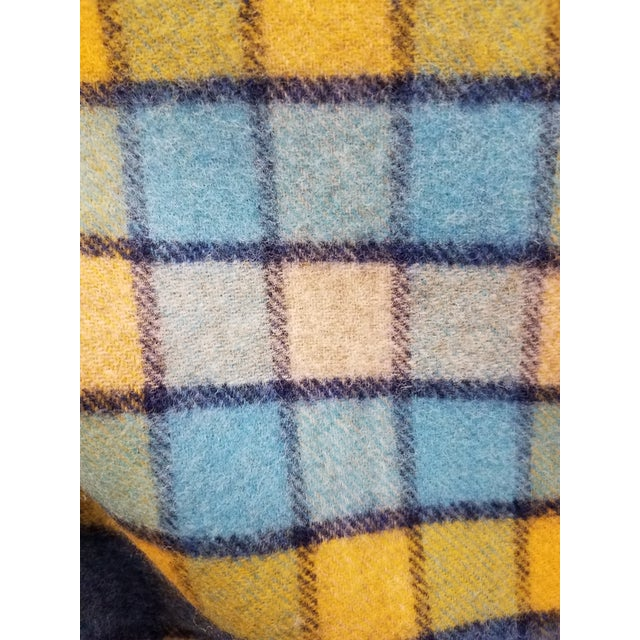 Wool Throw Blues and Yellow Squares - Made in England For Sale - Image 10 of 13