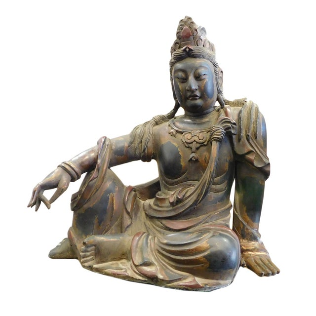 Distressed Golden Black Wood Kwan Yin Statue - Image 1 of 10