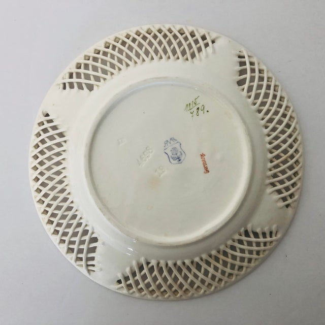 Antique Max Roesler Germany Reticulated Basket Weave Plate For Sale - Image 4 of 5