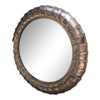 Mid Century Modern Brutalist Round Wall Mirror For Sale