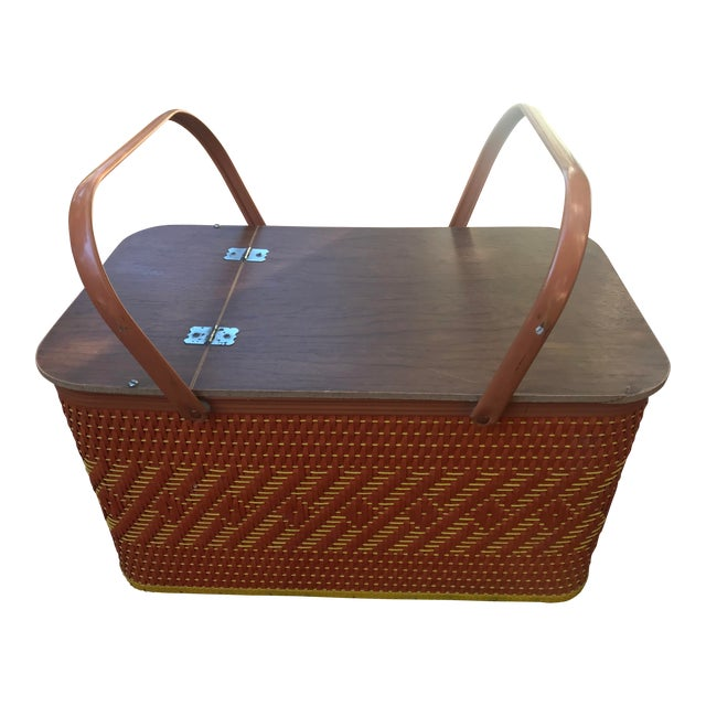 Vintage Mid Century Woven Picnic Basket For Sale