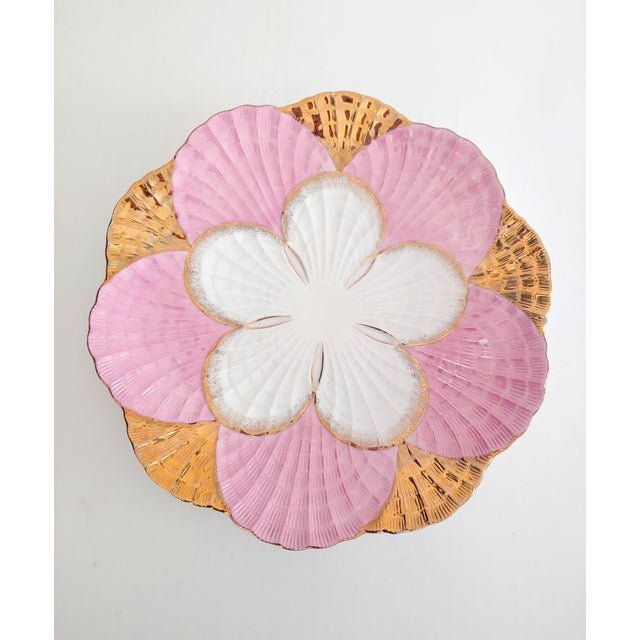 The prettiest colors pink, white and Gold decorate the scalloped shell plate. Beautiful for display or service.