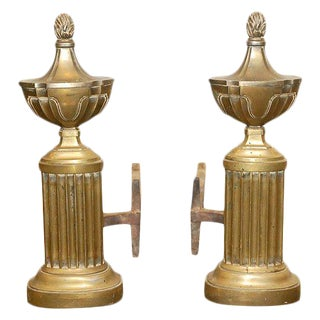 Pair Brass Andirons For Sale