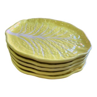 Vintage Secla Yellow Cabbageware Majolica Luncheon Plates - Set of 5 For Sale