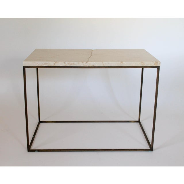 Rectangular Brass & Travertine Table For Sale - Image 4 of 11