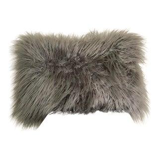 Faux Mongolian Fur Rectangle Gray Pillow