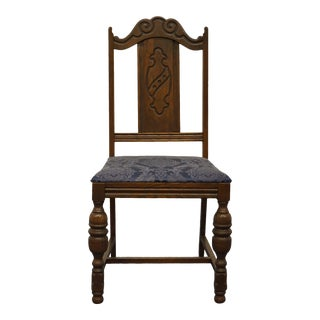 Vintage Antique English Revival Gothic Jacobean Dining Side Chair For Sale